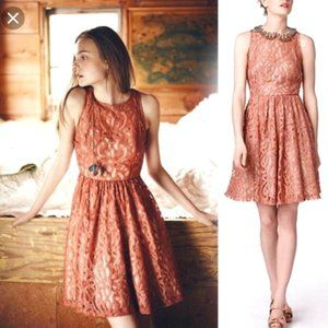ANTHRO PLENTY Mauve Lace A-Line Dress